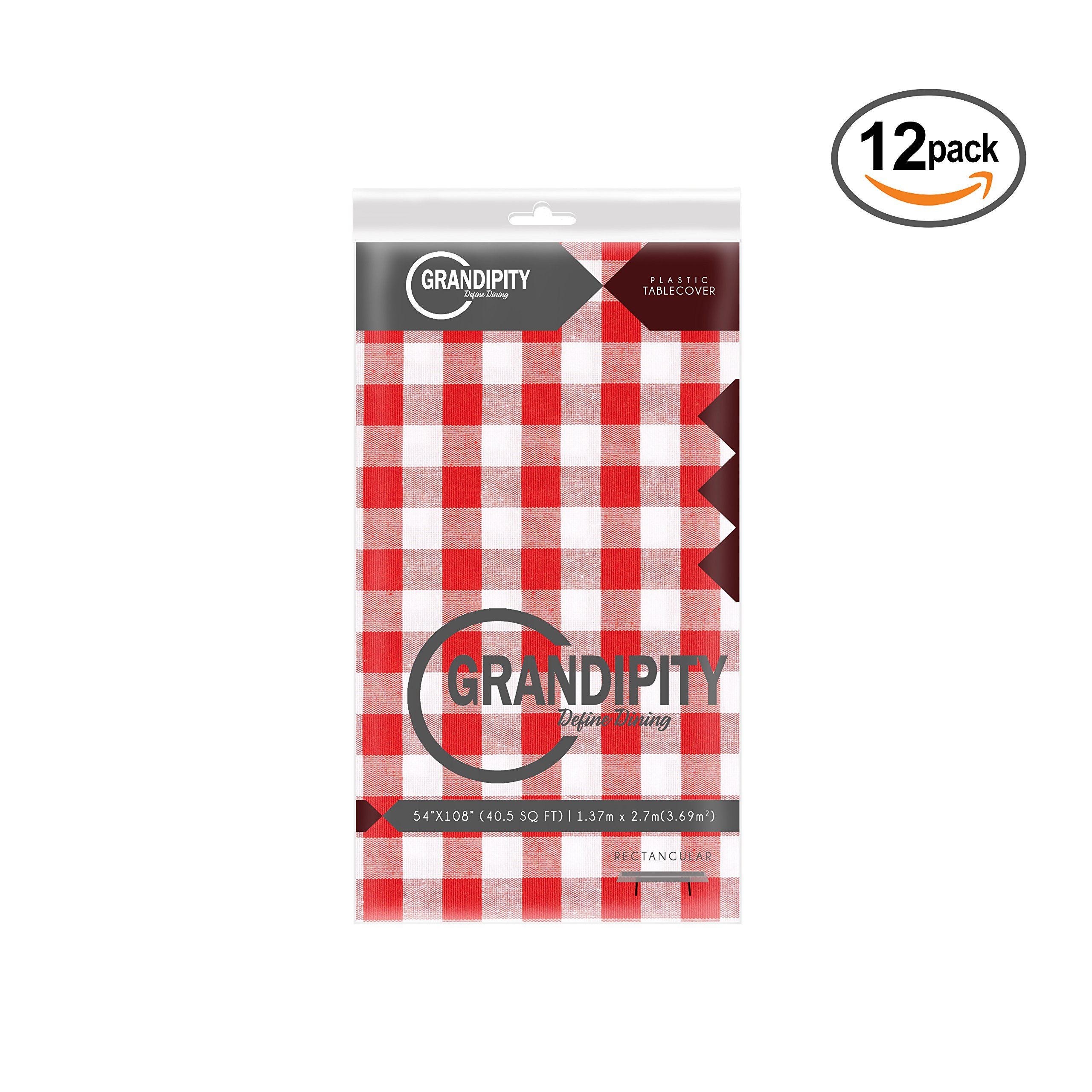 Red Gingham Checkered 12 Pack Premium Disposable Plastic Picnic Tablecloth 54 Inch. x 108 Inch. Rectangle Table Cover By Grandipity by Grandipity (Image #3)