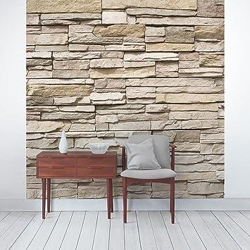 Gut Apalis Steintapete   Vliestapete Asian Stonewall   Steinmauer Aus Großen  Hellen Steinen   Fototapete Quadrat |