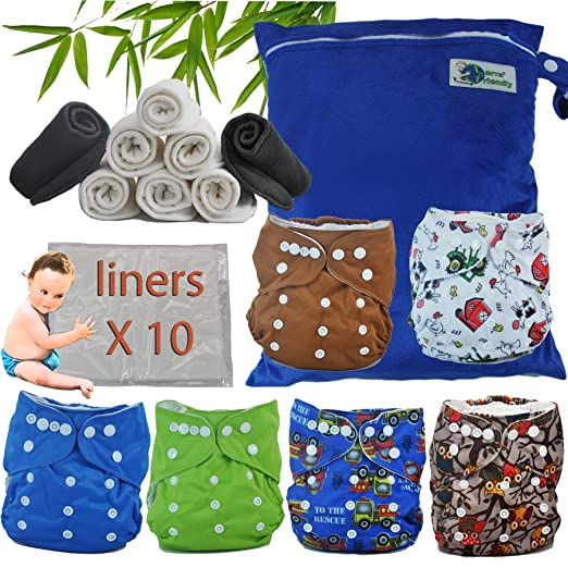 Reusable Baby Cloth Pocket Diapers with Double Gussets & Bamboo Inserts