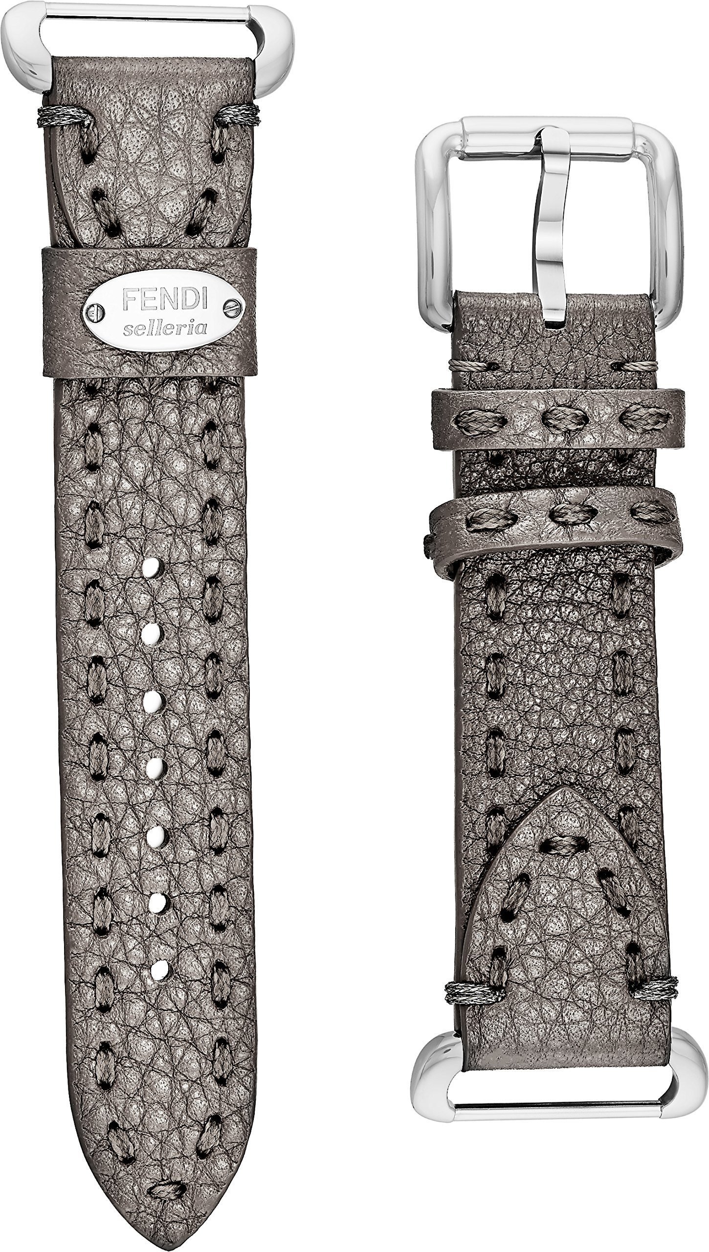 Fendi Selleria Interchangeable Replacement Watch Band - 18mm Light Grey Calfskin Leather Strap with Pin Buckle SS18RD6S