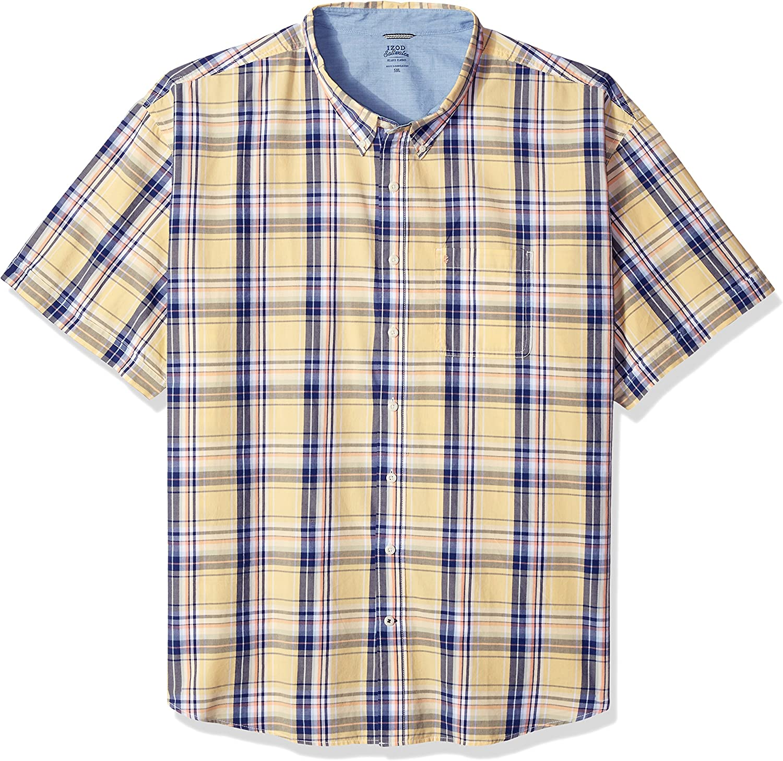 Izod Men/'S Tall Saltwater Dockside Button Down Short Sleeve Plaid Shirt