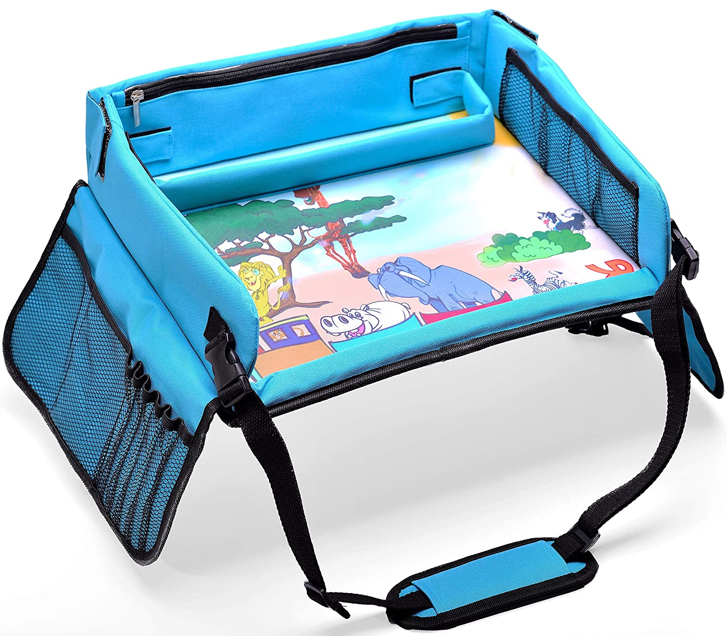 Kids Travel Play Tray – Activity, Snack Tray & Organizer for Car Seat, Stroller Or Airplane Traveling – Keeps Children Entertained – Portable and Foldable + Free Bag & E-Book (Blue) … Kids Bright Toys