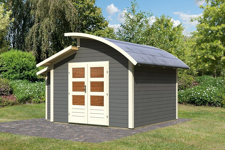 Karibu Gartenhaus Almelo mit Anbauschrank terragrau 28 mm