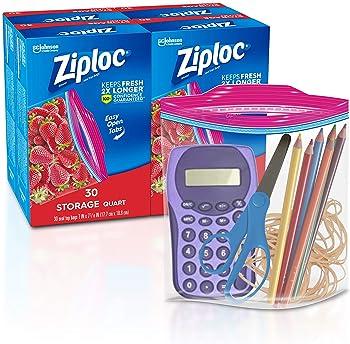 4-Pack Ziploc Quart Storage Bag 30-Count Box