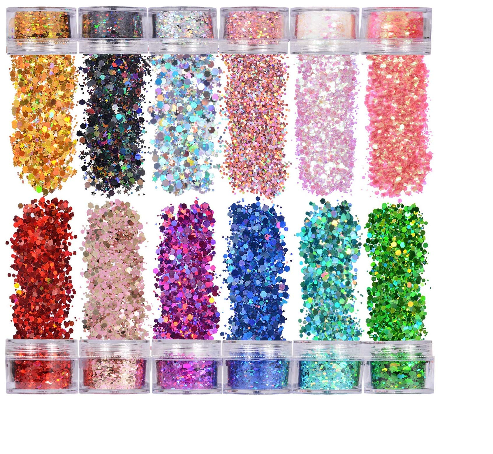 kuou 18 Colors Festival Glitter, Face Glitter Body Hair Nails Decorative Nail Art Glitter Sequin Powder Shiny Nails Decoration for Christmas Arts and Crafts
