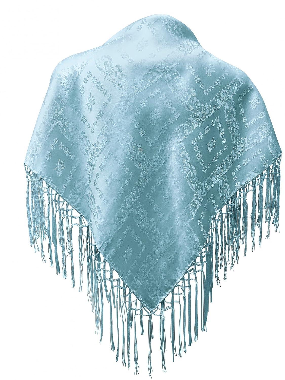 Dirndl-Trachtentuch Seidentuch Tuch blau 75x75cm Dirndltuch Seide Fransentuch