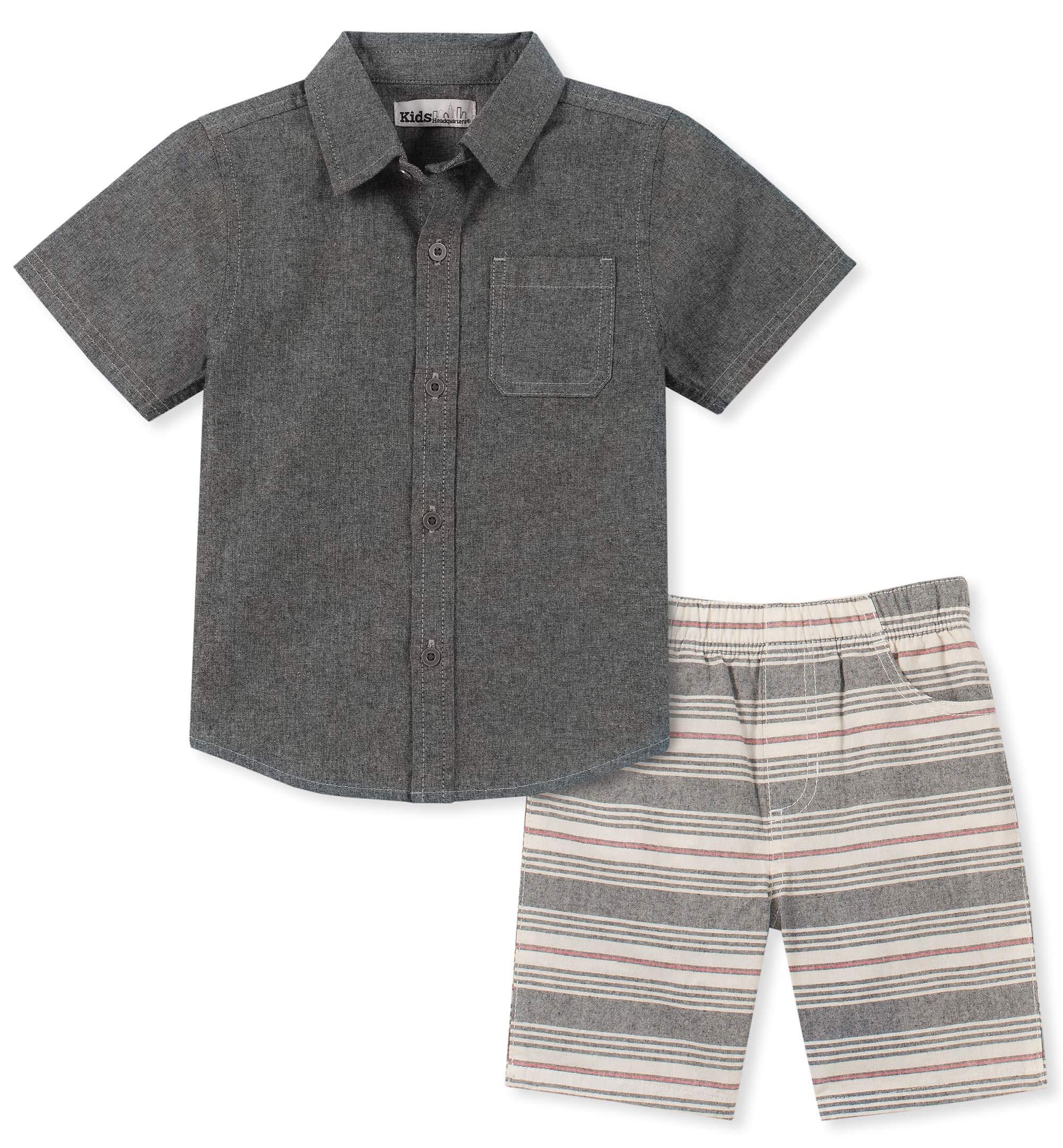 Kids Headquarters Boys' Toddler 2 Pieces Shirt Shorts Set, Charcoal 4T