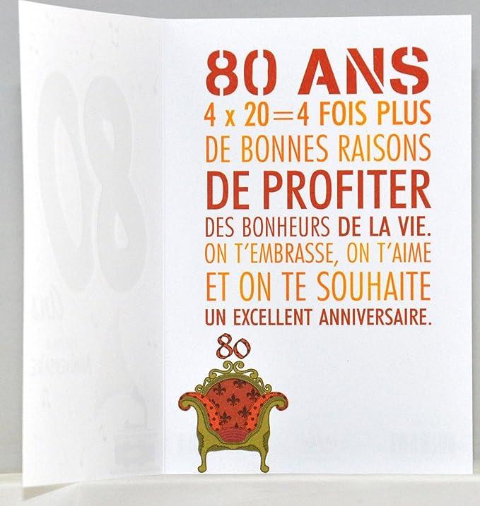 Age Mv 69 2042 Carte Anniversaire 80 Ans Homme Femme Motif Musique Sonophone Amazon Fr Fournitures De Bureau
