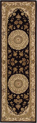 Nourison 2000 Hand Tufted Medallion Black Rug 5 6 x 8 6 6 x 9 Black Rectangle