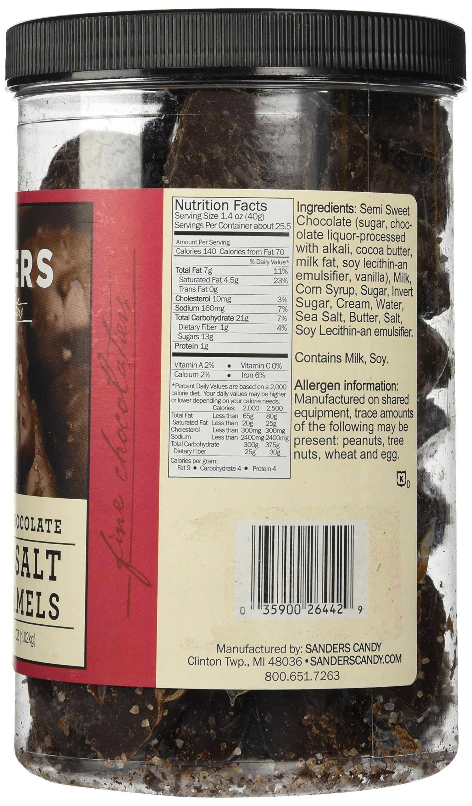 Sanders Dark Chocolate Sea Salt Caramels - 36 ounces (2.25 pounds) by Sanders® (Image #4)