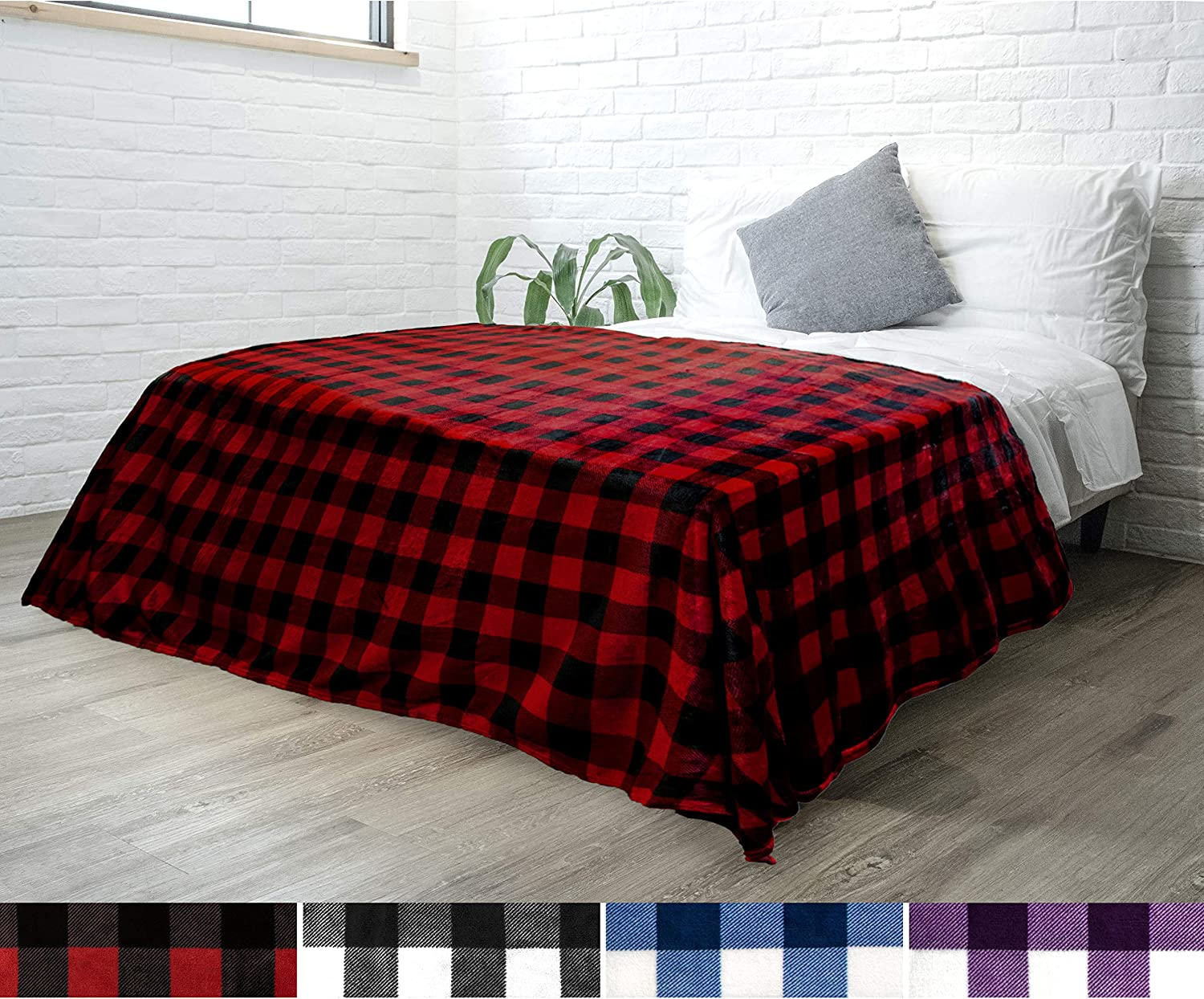 PAVILIA Flannel Fleece Throw Blanket for Sofa Couch Bed | Super Soft Velvet Plaid Pattern Checkered Decorative Throw | Warm Cozy Lightweight Microfiber | 60 x 80 Inches Plaid Red/Black