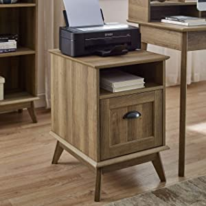 Newport Series Tall Wooden Home Office File Cabinet with Fully Extended Drawer | Side End Table | Sturdy and Stylish | Easy Assembly | Golden Oak Wood Look Accent Living Room Furniture