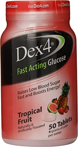 Dex4 Glucose Tablets, Tropical Fruit, 50 Count
