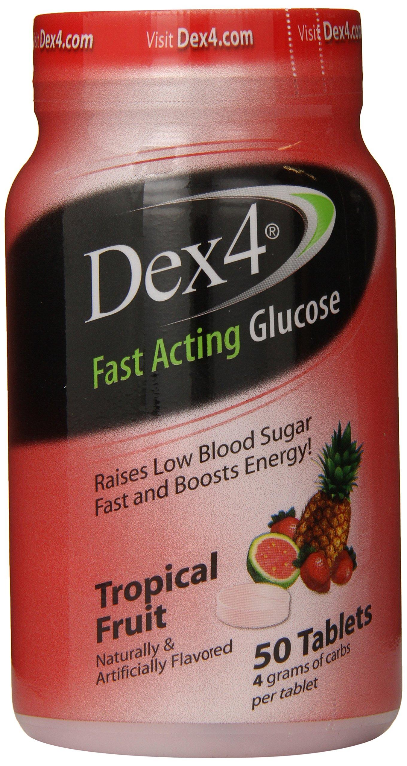 Dex4 Glucose Tablets, Tropical Fruit, 50 Count