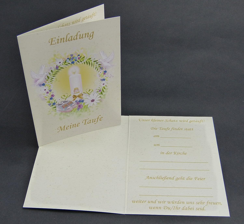 Einladungskarten Zur Taufe Für Junge U0026 Mädchen Im Set   Je 12x Klappkarte  Einladung Meine Taufe U0026 Briefumschläge U0026 Zum Foto Einstecken   Mit Platz  Für Ein ...