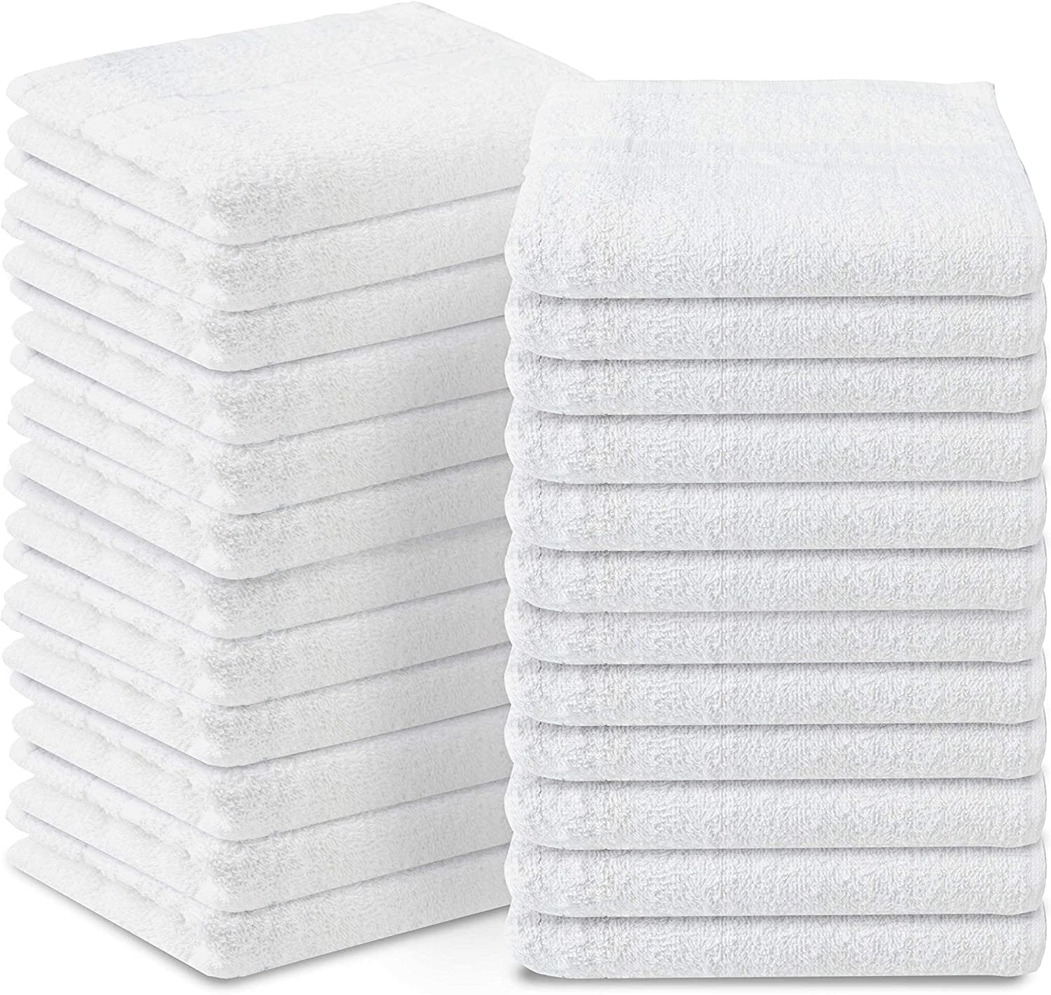 FEBRONA 16x27 White 100% Ring Spun Cotton, Ultra Soft & Highly Absorbent, Hotel & Spa Quality Hand Towels, Quick Dry & Highly Absorbent, Hotel Quality Towel for Gym, Salon, Spa & Home Care, Pack of 24