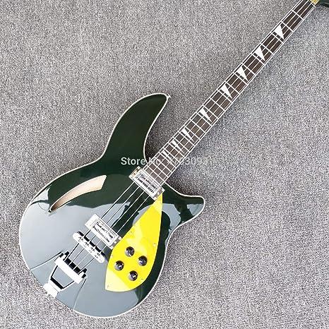 Guitarra eléctrica de 4 cuerdas Rick Bass, color verde, placa de ...