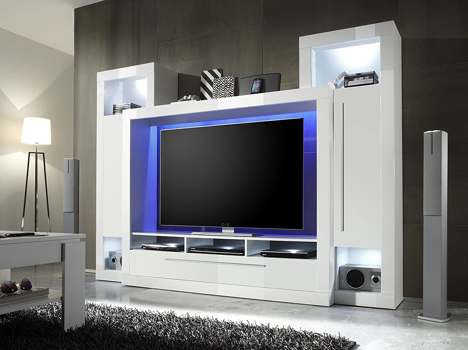 Lcd Tv Furniture For Living Room Furnline Medox High Gloss Tv Stand Wall Unit Living Room Furniture