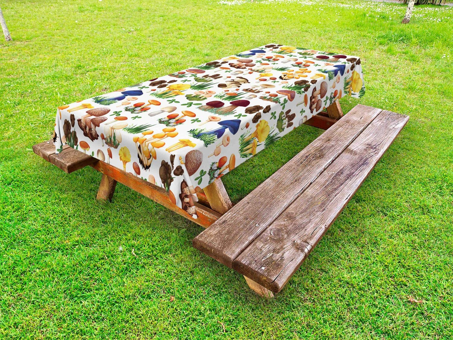 Ambesonne Mushroom Outdoor Tablecloth, Pattern with Types of Mushrooms Wild Species Organic Natural Food Garden Theme, Decorative Washable Picnic Table Cloth, 58