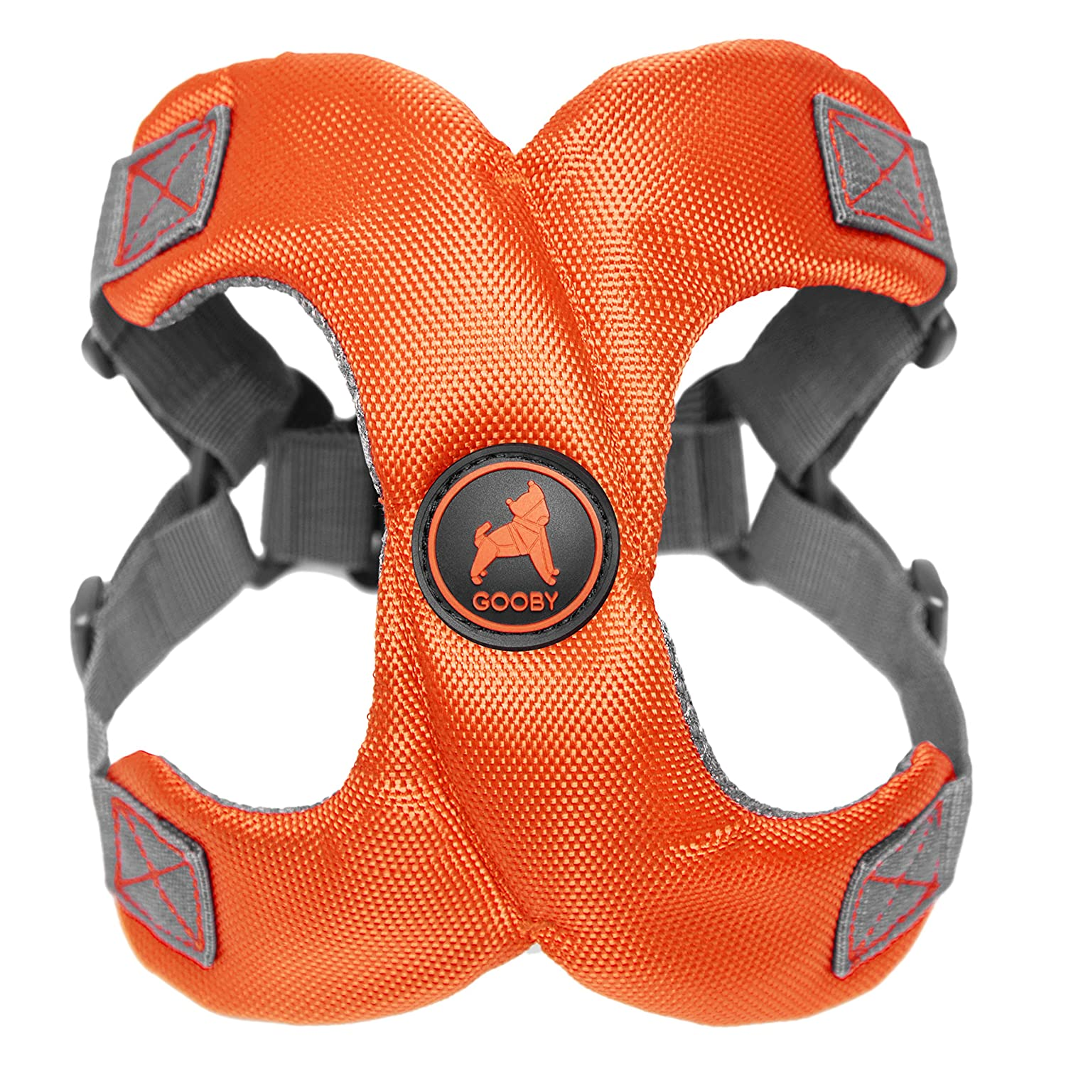 Gooby 04522-ORG-M Gooby Escape Free Memory Foam Dog Harness that Prevents Dog from Escaping, orange, Medium