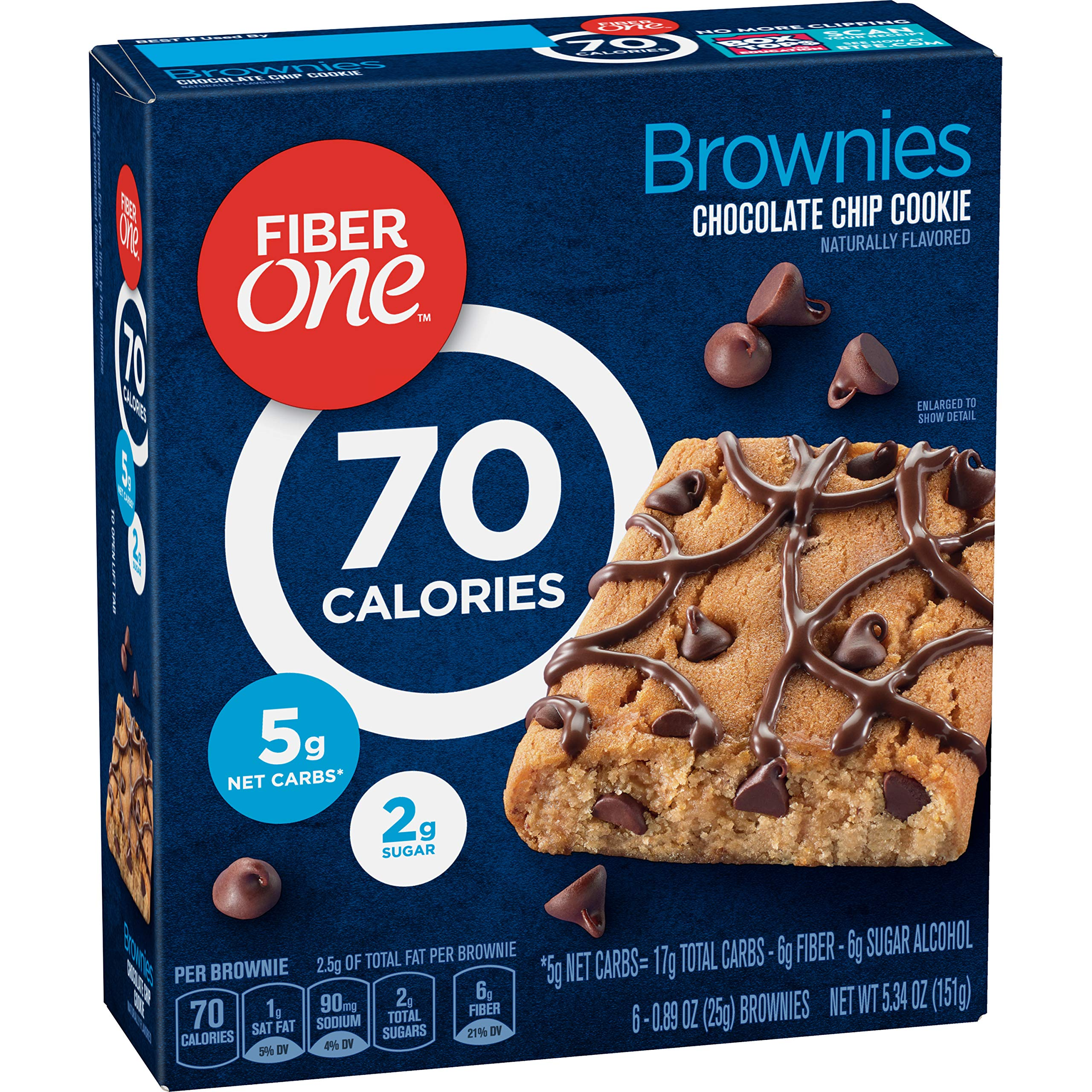 Fiber One Brownies, 70 Calories, 5 Net Carbs, Snacks, Chocolate Chip, 6ct
