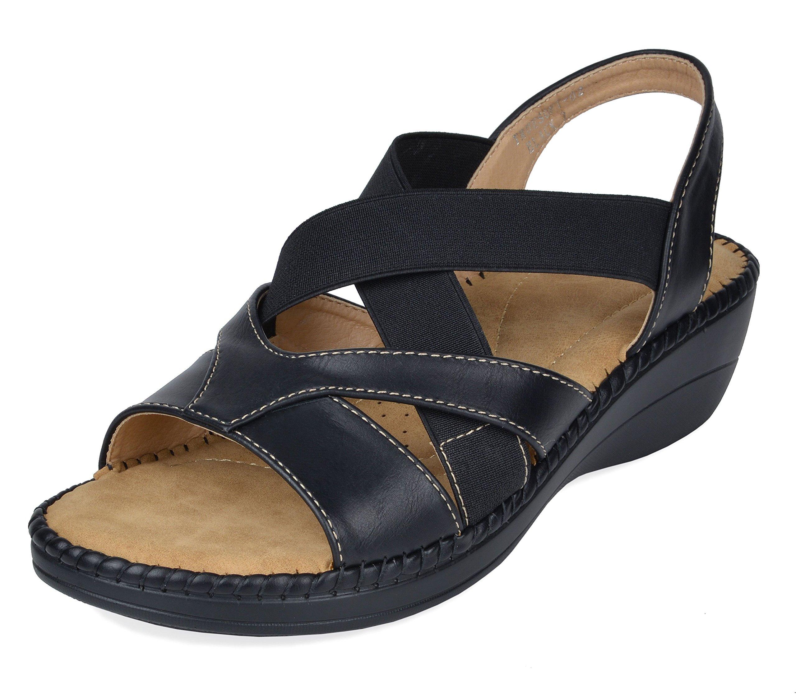 DREAM PAIRS Women's Truesoft_02 Black Low Platform Wedges Slingback Sandals Size 10 B(M) US