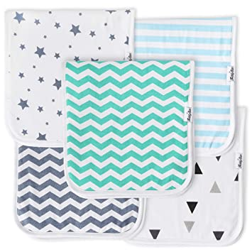 5-Pack Baby Burp Cloths Triple Layer Soft And Absorbent Towels Plain Burping ...