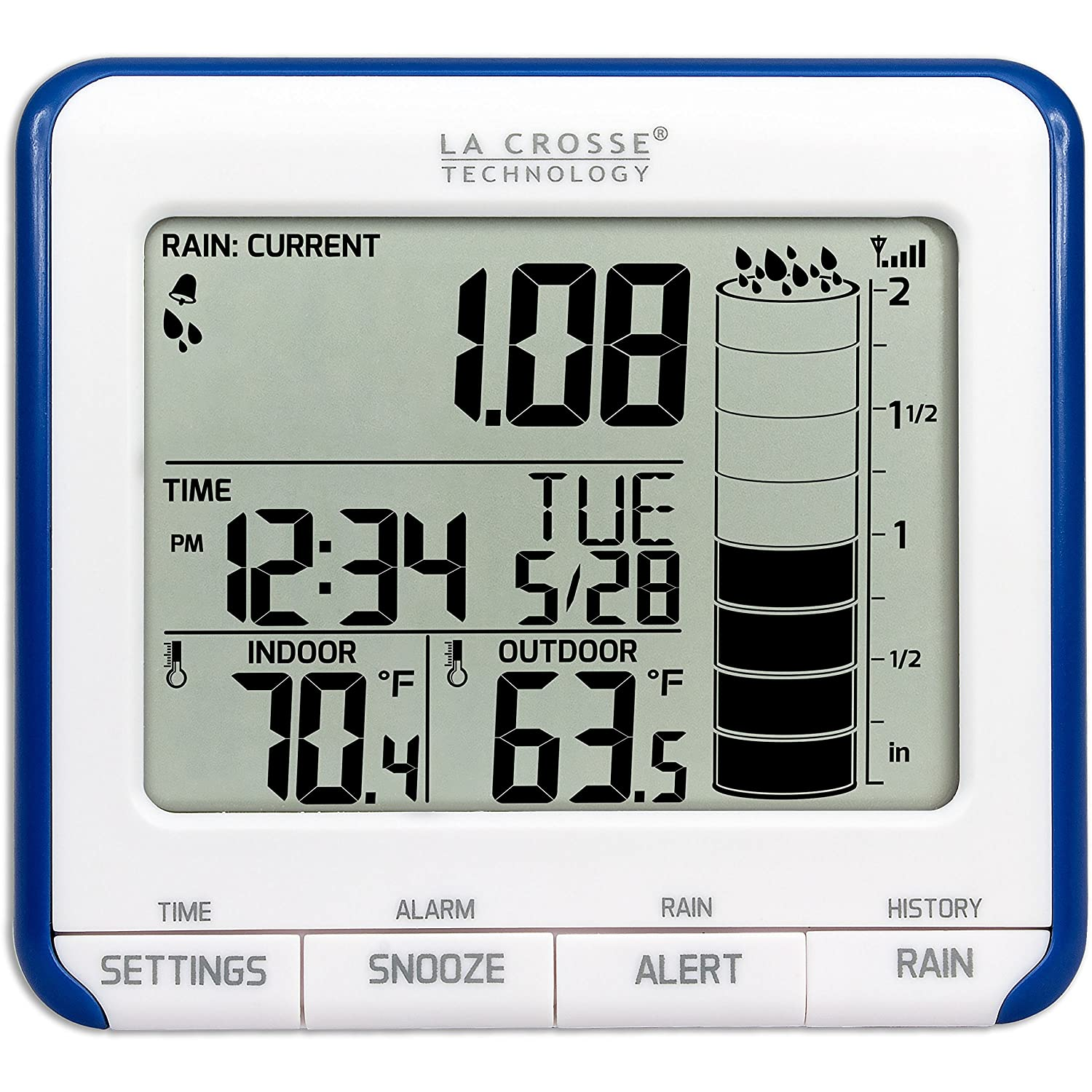 Amazon com la crosse technology 724 1710 wireless rain gauge weather station with thermometer la crosse technology home kitchen