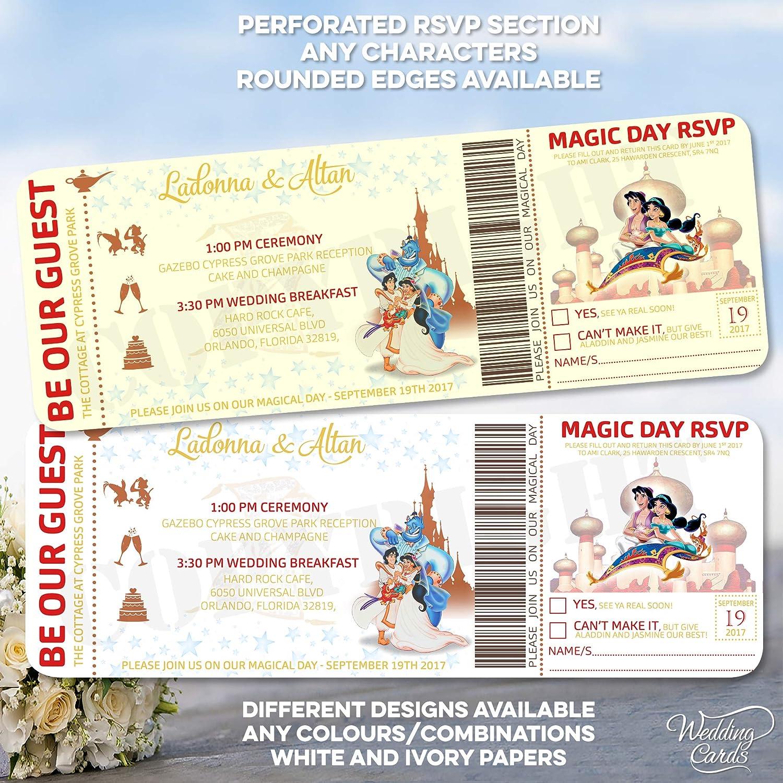 Aladdin and Jasmine - Invitaciones de cumpleaños ...