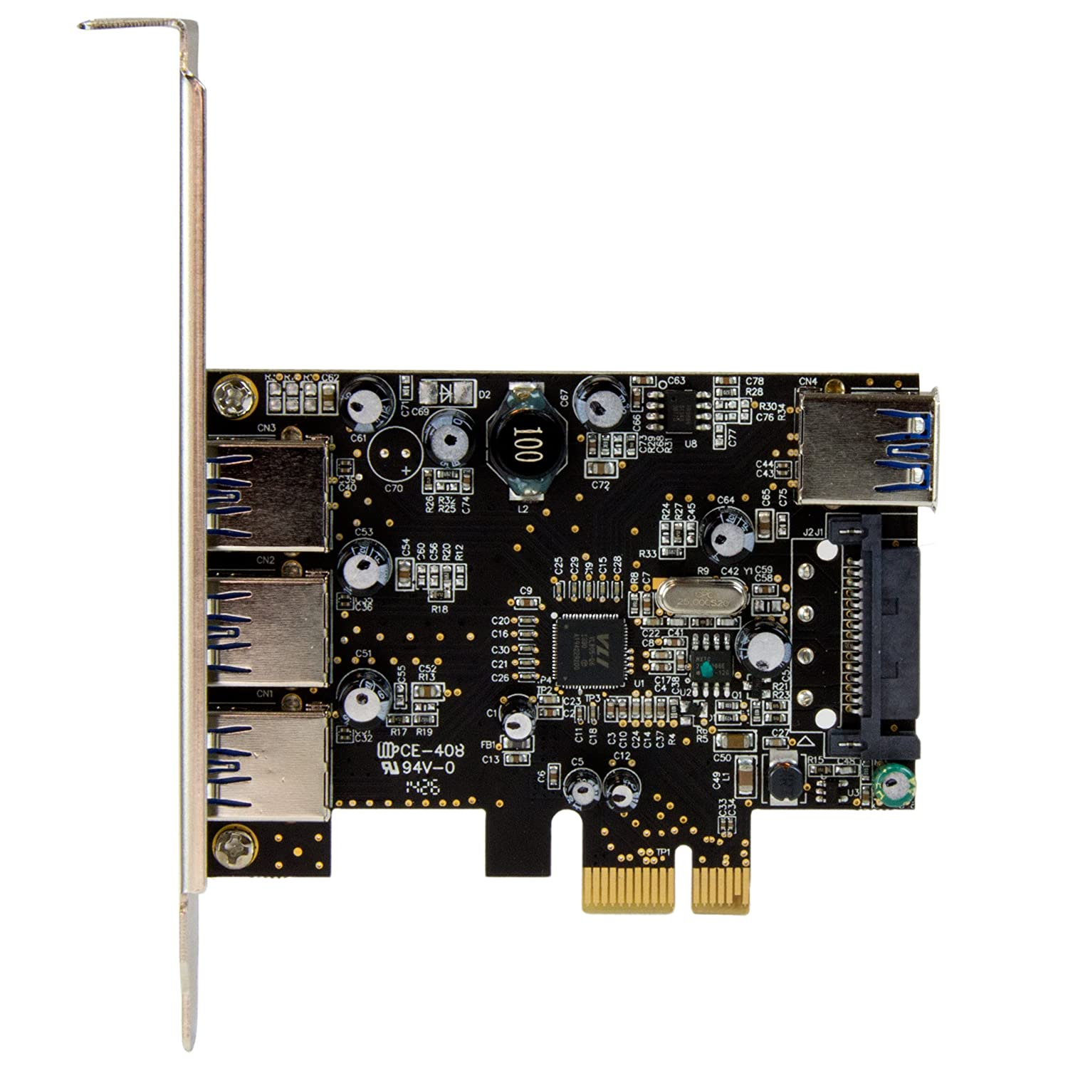 StarTech.com 4 Port PCI Express USB 3.0 Card - 3 External and 1 Internal - Native OS Support in Windows 8 and 7 - Standard and Low-Profile ...