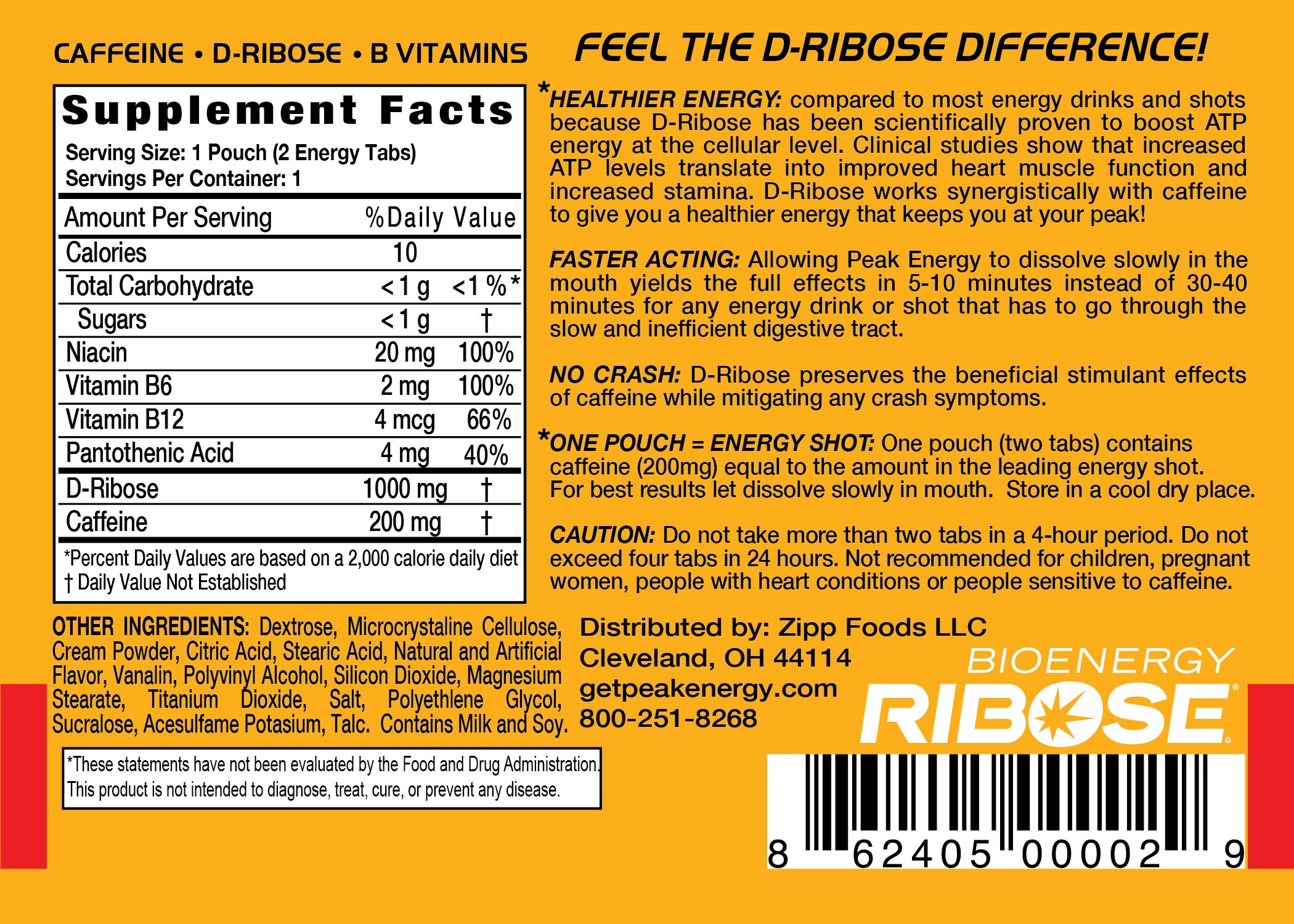 Caffeine and D-Ribose Energy Mints - 100mg Caffeine per mint - 24 Pouch Box - Orange Cream Flavor by Peak Energy (Image #3)