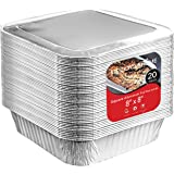 8x8 Foil Pans with Lids (20 Count) 8 Inch Square Aluminum Pans with Covers - Foil Pans and Foil Lids - Disposable Food…