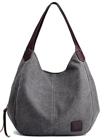 Dccn Canvas Tasche Damen Shopper Bag Handtasche Hobo Bag Grau