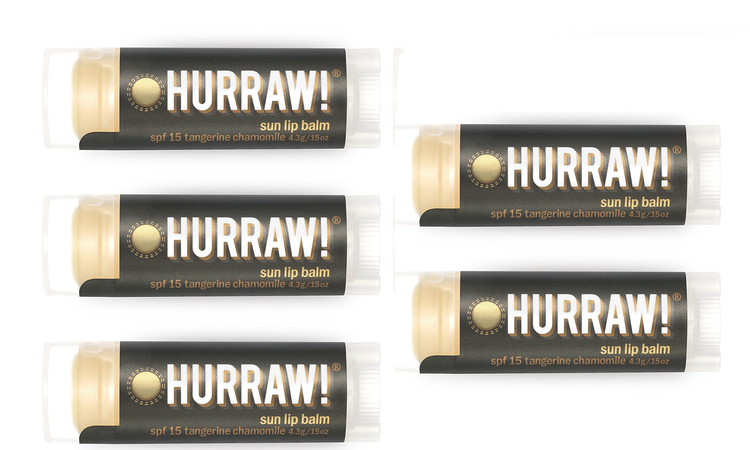 Hurraw Sun Protection (SPF 15, Tangerine, Chamomile) Lip Balm, 5 Pack by Hurraw!