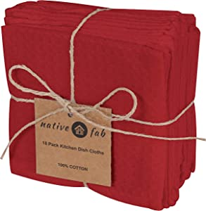 Native Fab Waffle 18 Pack Kitchen Dish Cloths Cotton 12x12 Absorbent Washable, Dish Towels, Restaurant Cleaning Towels, Bar Mops Towels, Rags for Home Kitchen Bars, Red