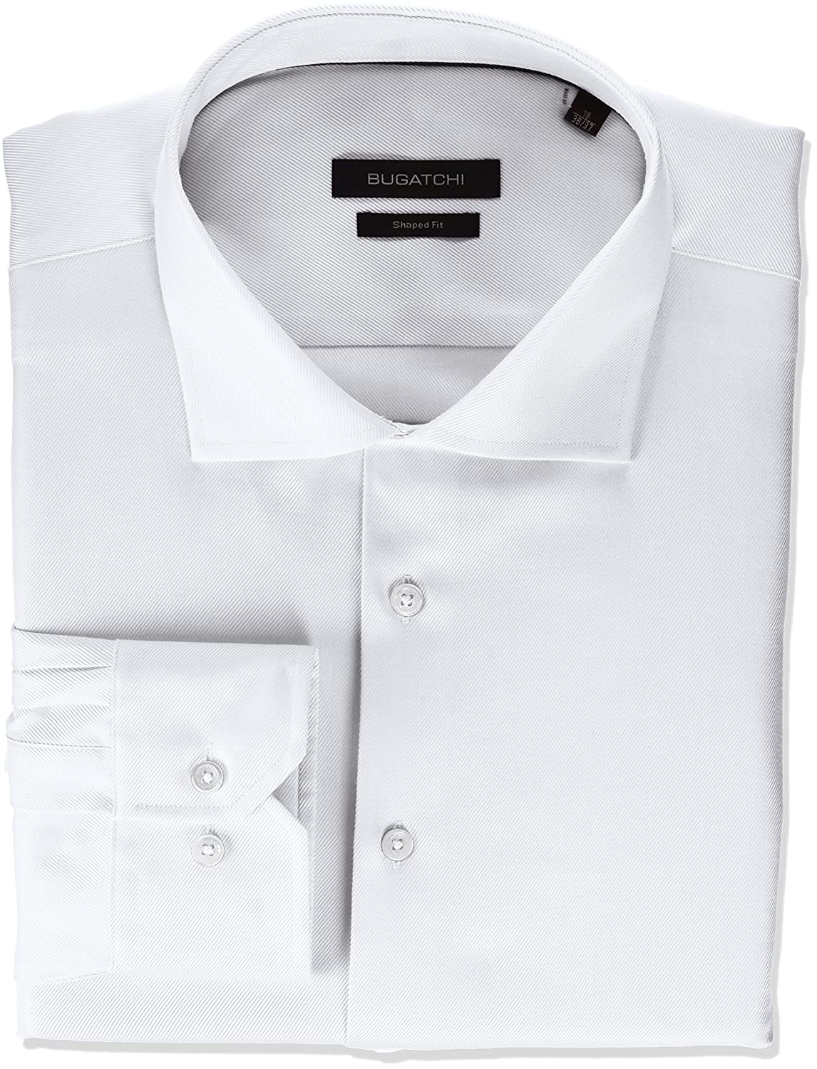 Bugatchi Mens Fitted Tonal Jacquard Spread Collar Dress Shirt