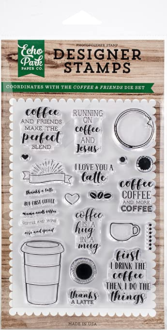 Echo Park Paper Company Coffee & Friends Stamp Echo Park Sellos CFFEE & FR, Café & Amigos, Talla única: Amazon.es: Hogar