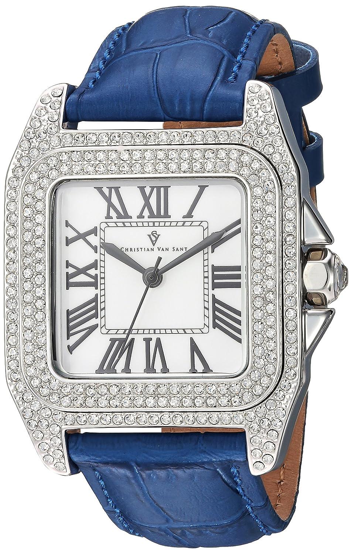 Christian Van Sant Women 's ' RADIEUSE 'クオーツBrass andレザーCasual Watch, Color : Blue (Model : cv4422 ) B079S4CQCM