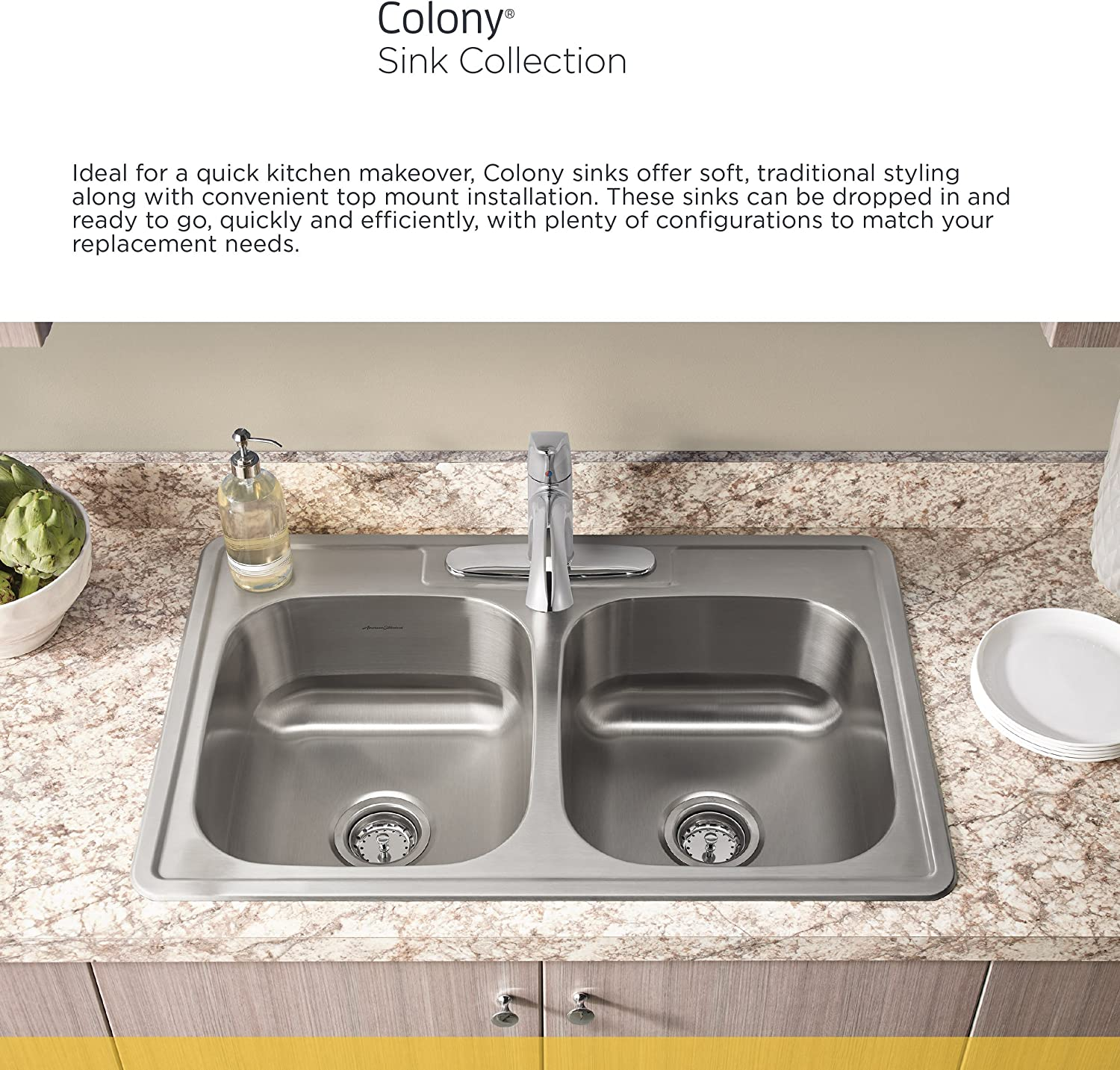American Standard 20sb 8252283c 075 Colony 25x22 Single Bowl Kitchen Sink Kit With Faucet And Drain Stainless Steel Amazon Com