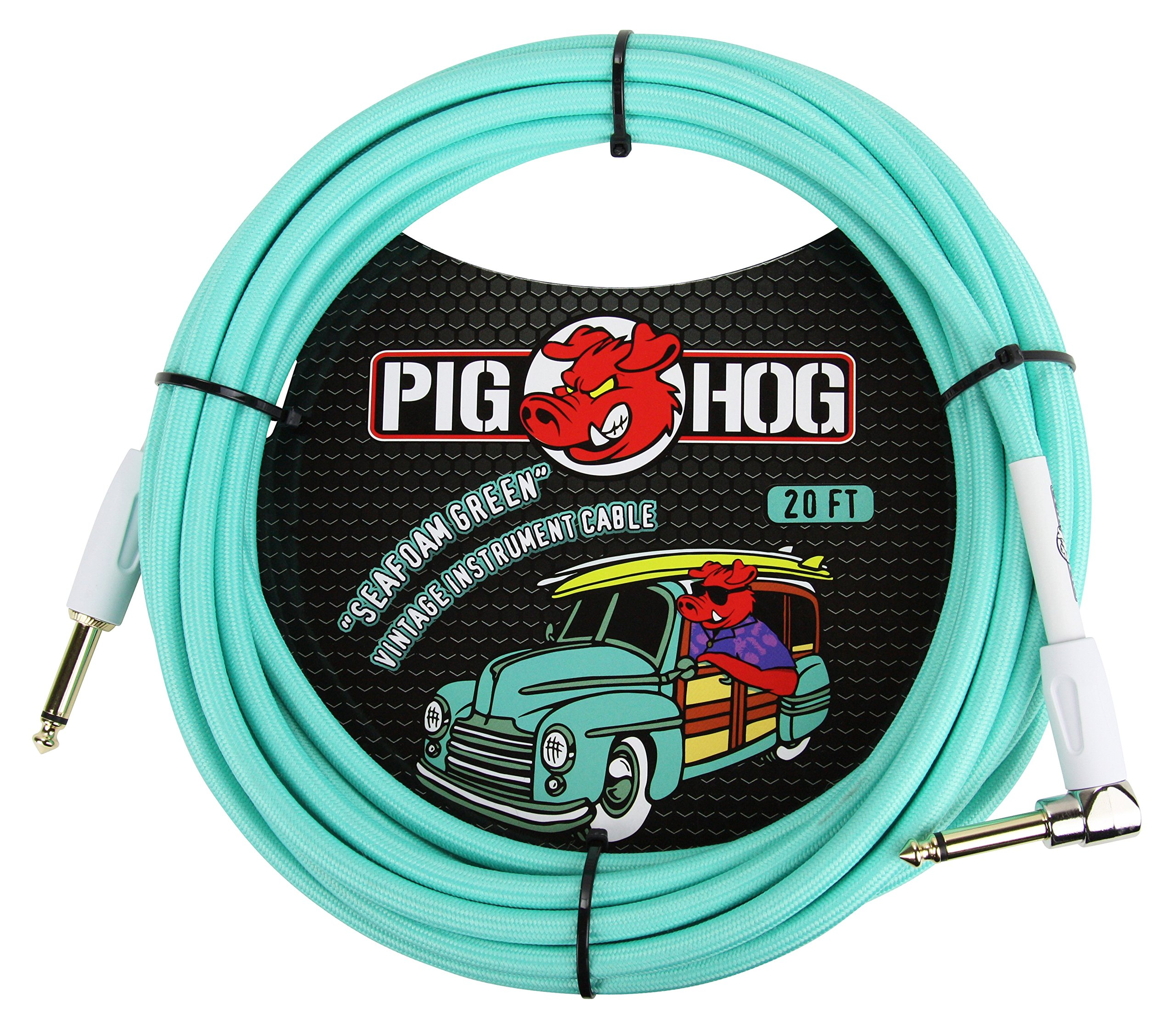 Pig Hog PCH20SGR Right-Angle 1/4'' to 1/4'' Seafoam Green Guitar Instrument Cable, 20 Feet