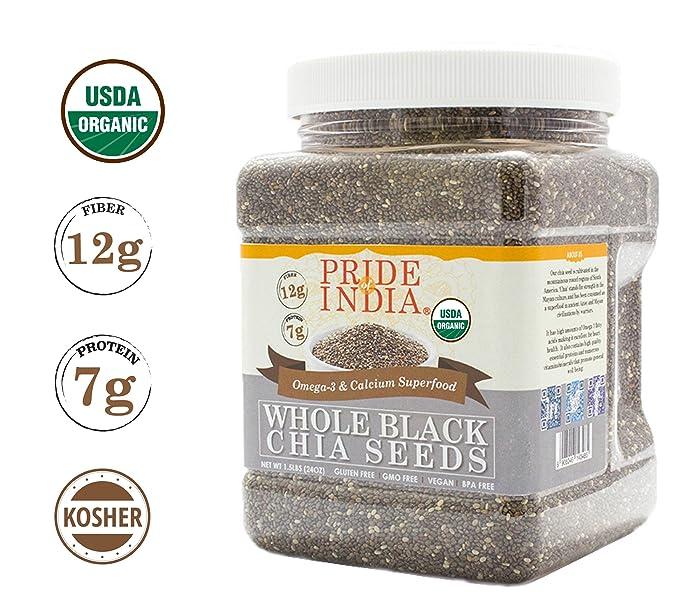 Pride Of semillas India Organic negro de chía omega3 y fibra súper, 1,5 lb (24 oz) tarro