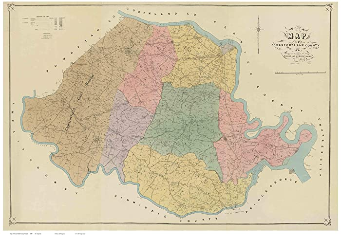 Amazon Com Chesterfield County Virginia 1888 Wall Map With