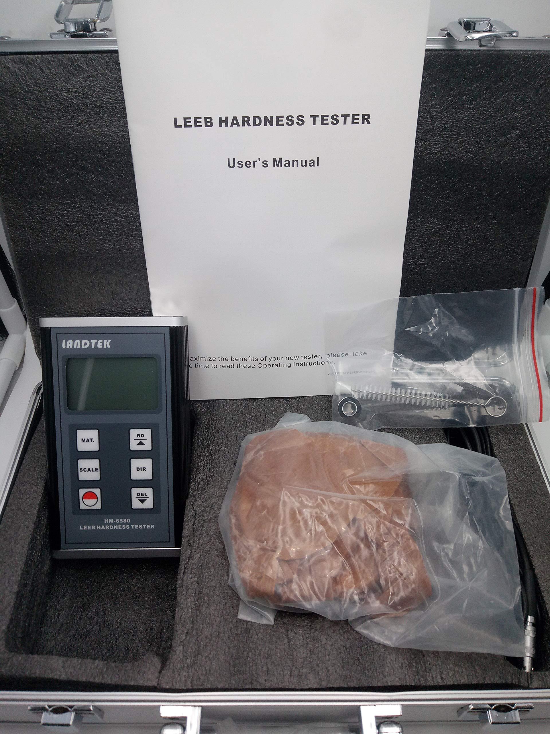 Landtek Portable Leeb Hardness Tester Meter HM-6580 with 170-960 HLD Metals Durometer Instrument HRB HRC HV HB HS HL for Solid Aluminum Alloy Housing