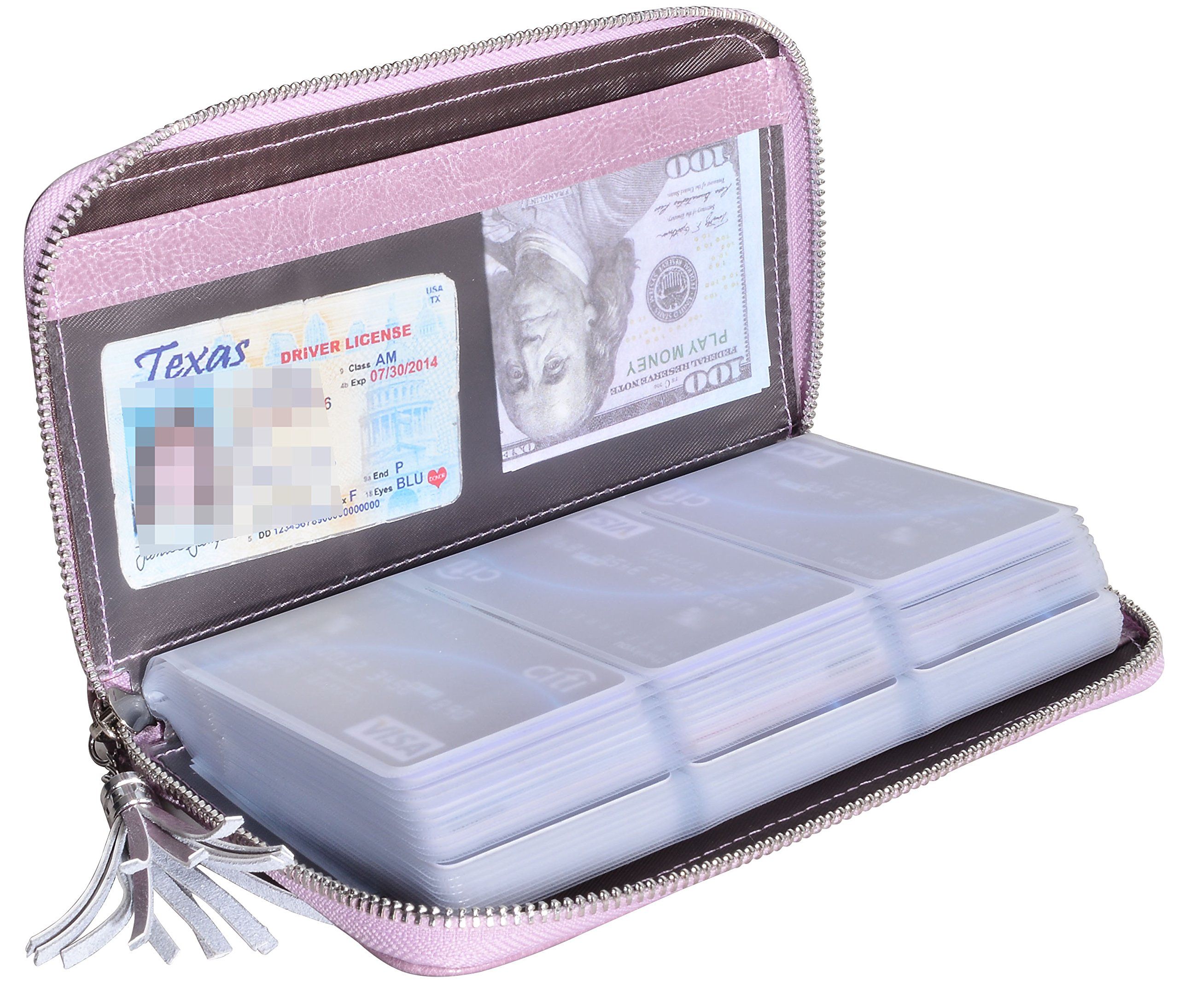 Yuhan Pretty Womens Credit Card Holder Wallet RFID Leather Small ID Card Case (60 Card Slots - Purple)