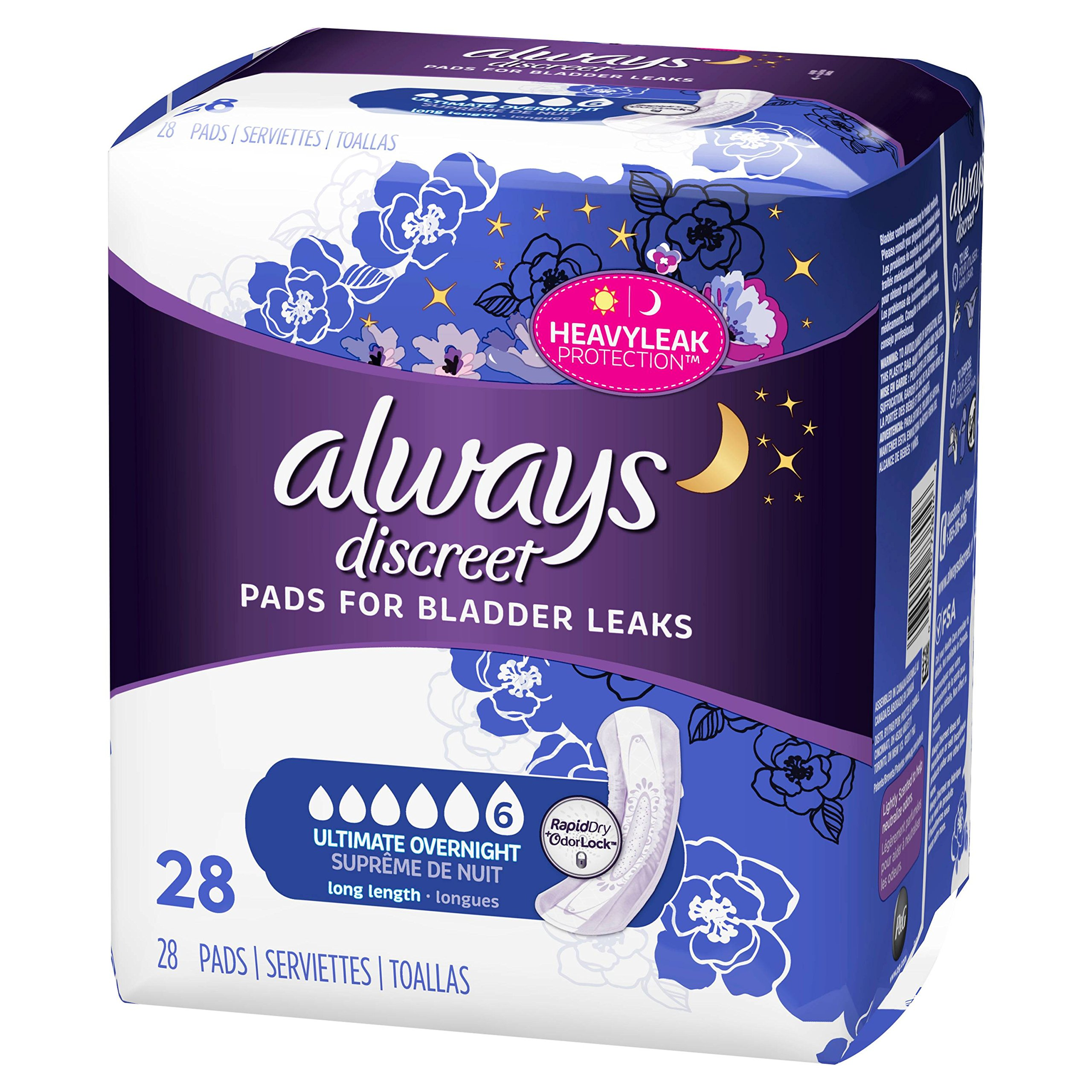 Always Discreet for Bladder Leaks, Ultimate Overnight, Long Length, 28 Pads (Pack of 2)