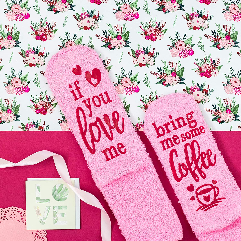 vino, chocolate, caf/é Lavley Calcetines con texto en ingl/és If You Love Me Bring Me Rosa Regalo para mujeres