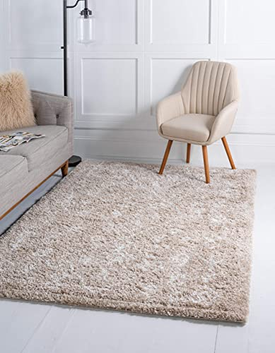 Unique Loom Rabat Shag Collection Tribal Moroccan Nomad Plush Taupe Area Rug 9' 0 x 12' 0