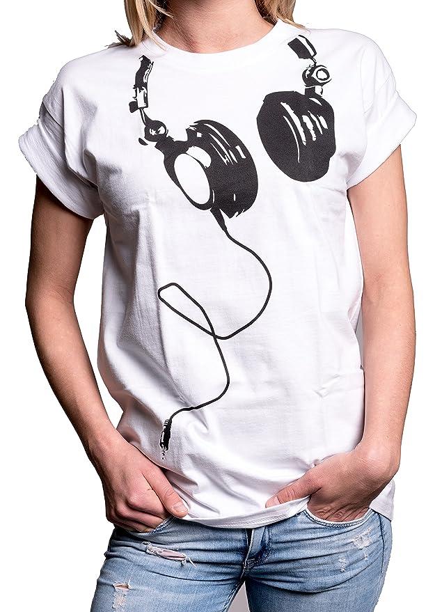 95fac0de08fa MAKAYA Coole Oberteile - Hipster Oversize Shirt Kurzarm große Größen - Kopfhörer  Aufdruck  Amazon.de  Bekleidung