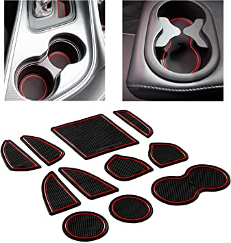 Red Trim Console Liner Accessories for Dodge Challenger 2015 2016 2017 2018 2019 11PC Set Custom Fit Cup Door