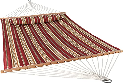 Sunnydaze 2 Person Double Hammock with Spreader Bar, Quilted Fabric Bed – for Outdoor Patio, Porch, and Yard Red Stripe